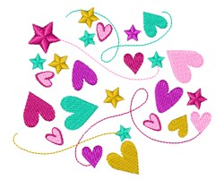 Swirly Hearts embroidery design