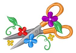 Floral Scissors embroidery design
