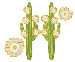 Floral Cactus embroidery design