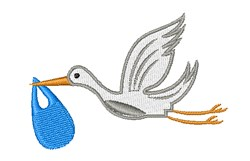 Delivery Stork embroidery design