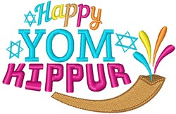 Happy Yom Kippur embroidery design