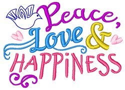Peace, Love &  Happiness embroidery design