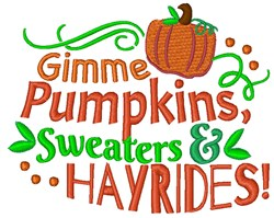 Gimme Pumpkins embroidery design