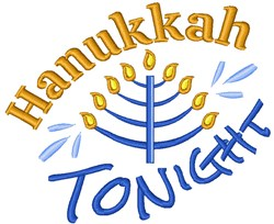 Hanukkah Tonight embroidery design