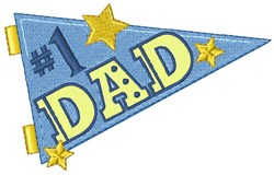 #1 Dad Pennant embroidery design
