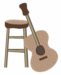 Guitar and Stool embroidery design
