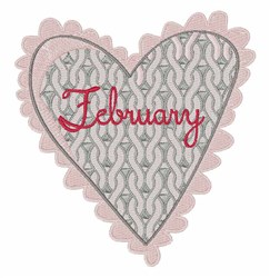 February Knit Heart embroidery design