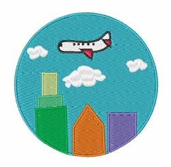 Plane Over City embroidery design