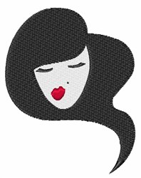 Woman Red Lipstick embroidery design