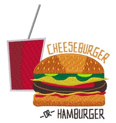 Cheeseburger or Hamburger embroidery design