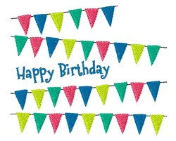 Birthday Banner Flags embroidery design