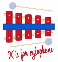 X For Xylophone embroidery design