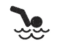 Swimmer Silhouette embroidery design