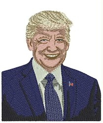 Smiling Trump embroidery design