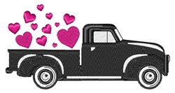 Vintage Valentines Day Truck embroidery design