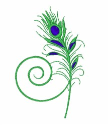 Fancy Peacock Quill Feather embroidery design