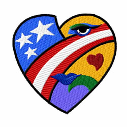 American Hearts embroidery design