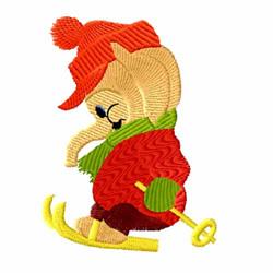 Elephant Skiing embroidery design