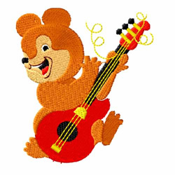 Guitar Playing Bear embroidery design