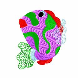 Purple Fish embroidery design
