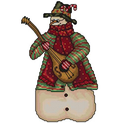 Snowman-guitarist embroidery design