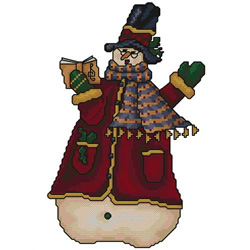 Snowman-singer embroidery design