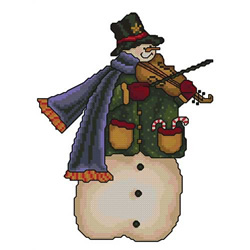 Snowman-violinist embroidery design