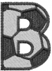 Soccerball Letter B embroidery design