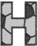 Soccerball  Letter H embroidery design