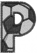 Soccerball  Letter P embroidery design