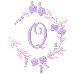 Floral Monogram Q embroidery design
