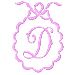 Scalloped Monogram D embroidery design