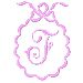 Scalloped Monogram F embroidery design