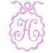 Scalloped Monogram H embroidery design