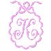 Scalloped Monogram K embroidery design