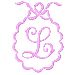 Scalloped Monogram L embroidery design