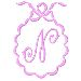 Scalloped Monogram N embroidery design