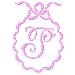 Scalloped Monogram P embroidery design
