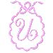 Scalloped Monogram U embroidery design