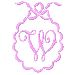 Scalloped Monogram W embroidery design