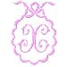 Scalloped Monogram X embroidery design