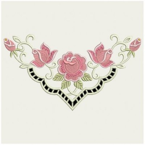 Rose cutwork neckline embroidery designs machine