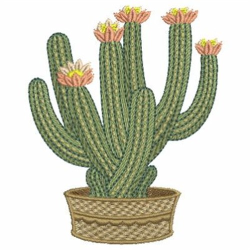 Floral cactus embroidery designs machine