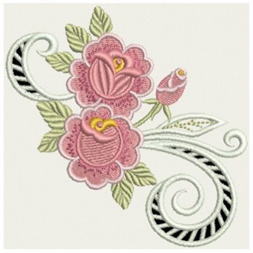 Rose cutwork border embroidery designs machine
