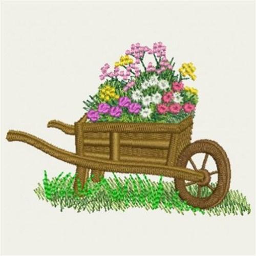Garden wheelbarrow embroidery designs machine embroidery for Garden embroidery designs