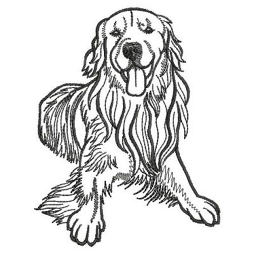 Line Art Dog Tattoo : Golden retriever outline embroidery designs machine