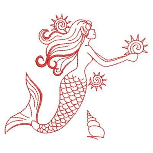 Redwork mermaids embroidery designs machine