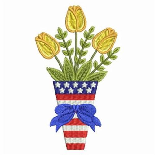 Patriotic flower vase embroidery designs machine