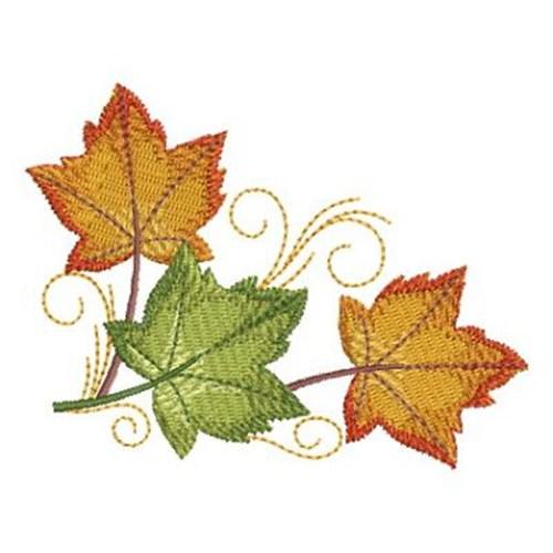 Autumn leaf corner embroidery designs machine