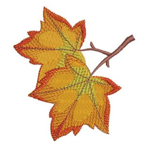Two autumn leaves embroidery designs machine